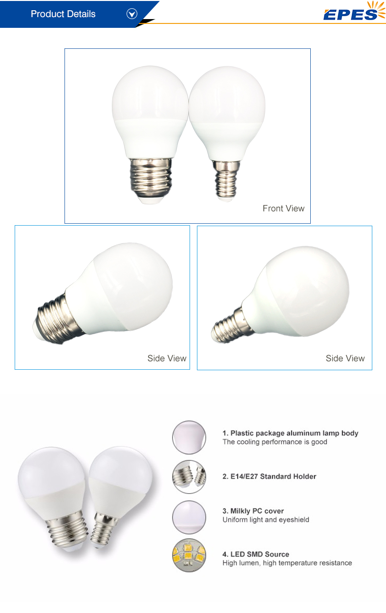 Small Mirror Mini Light Led Globe Lamp Bulb 4 5 6 7 watt E27 E14 G45 Led Lighting Bulb