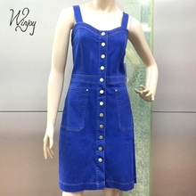 Button opening overalls sleeveless long formal womens denim dresses
