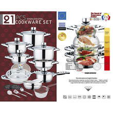 2018 Hot Selling Stainless Steel Pots and Pans 21PCS Cookware Set
