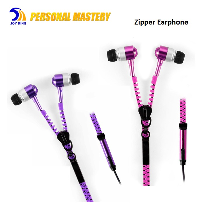 Mic 3.5mm Fashion Sport Style 8 Colors Zipper Earphone For Mobile Phones MP3 MP4