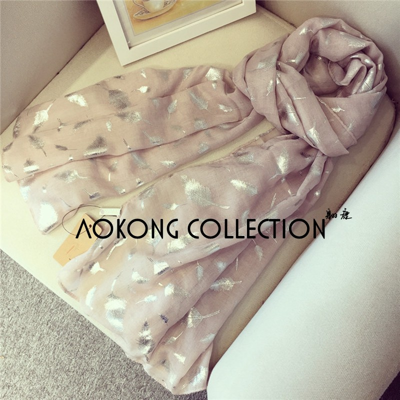 New design high quality women feather printed scarf shawl