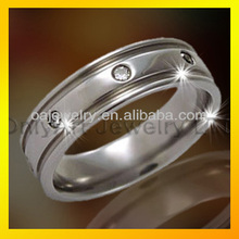 nice wedding ring with white cubic zircon on stainless steel band
