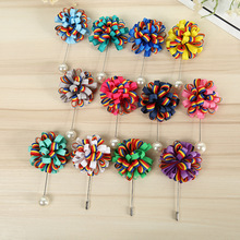 fashion flower pearl lapel pin for men suit, rainbow color fabric flower brooch for dresses