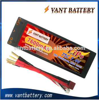 Hot selling 2S Li-polymer RC cars battery pack 7.4v 7600mah 75C high rate discharge