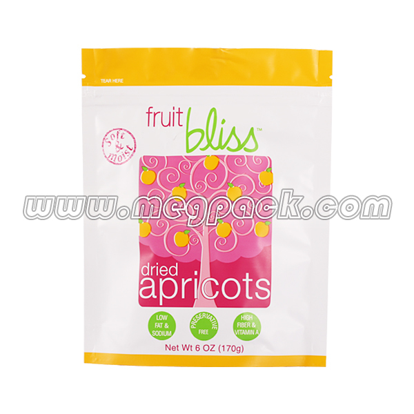 stand up zipper too dried fruit pack bag, side gusset custom printed heat seal bag, plastic packing bag for dried fruit
