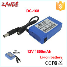 DC-168 1800mAh 12V Rechargeable li-ion polymer small 12 volt battery