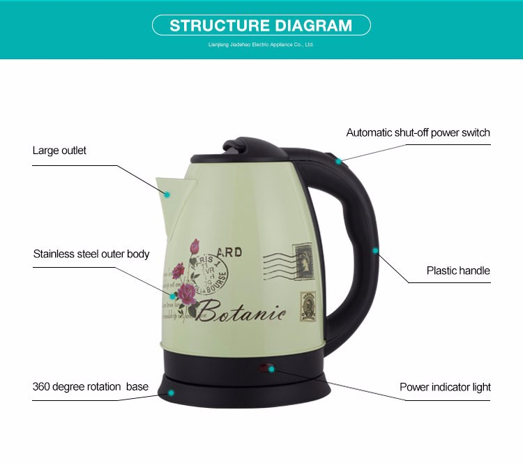 Unique design stainless steel double wall brew heating element cordless travel electric kettle