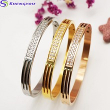 2 Row Iced Out Stainless Steel Silver Bangle Bracelet Women Jewelry