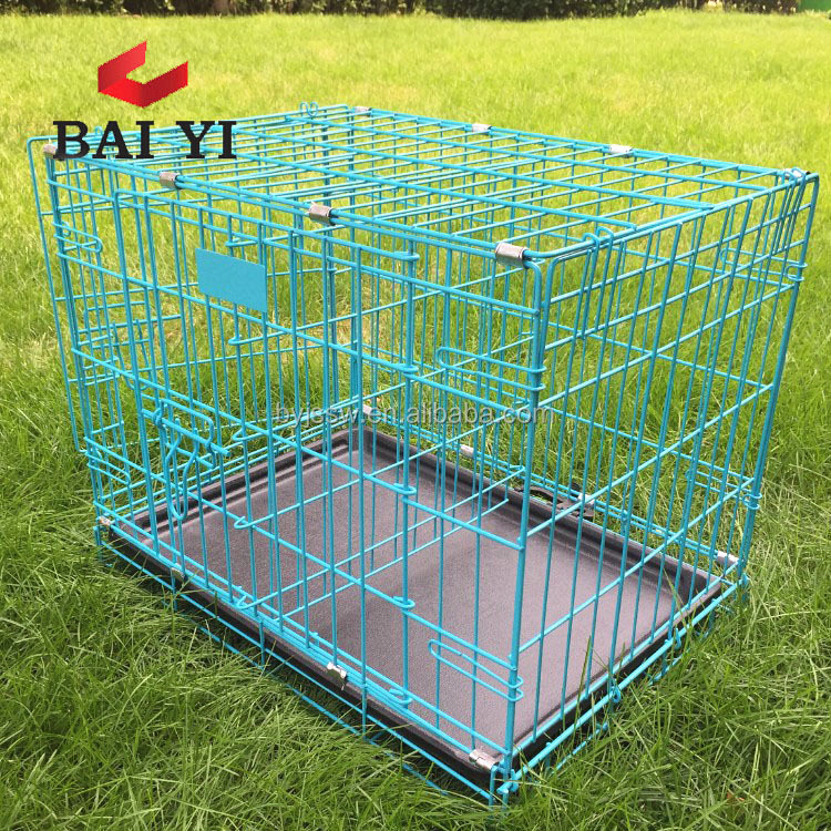 Folding Home Training Black Steel Dog Puppy Pet Iron Dog Cage with Plastic Pan