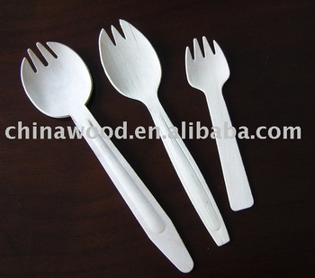 Wooden spork (fork-spoon)
