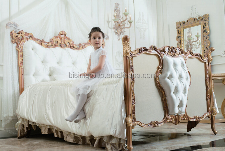 Antique Rococo beech wood customized new born baby bed, handmade carving large angel wings adult baby crib - BF07-70305