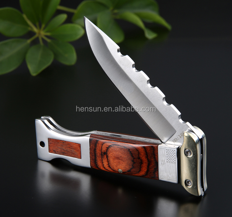 Nickel silver stainless steel bolster pakka wood handle folding blade knife