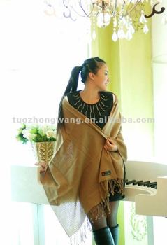 pure camel fine wool hollowed shawl