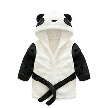 Promotion panda shape hooded cotton confortable baby bathrobes