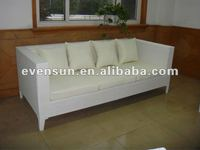 1pc big white rattan three seat sofa with cushion and pillows