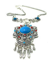 New Hot Sale Metal Tassels Multi Layer Vintage Boho Necklace Women's Turquoise Fashion