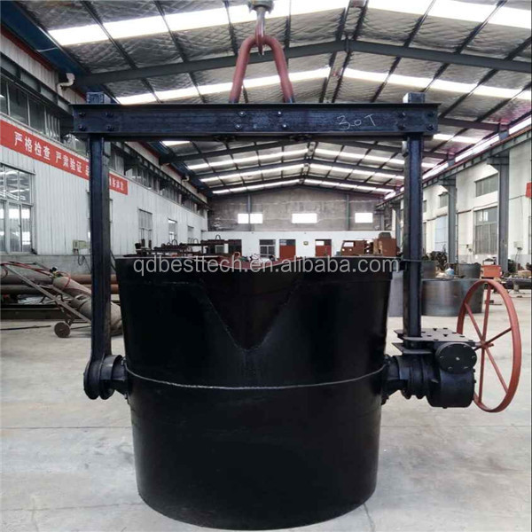 0.3-5 tons pouring cast iron ladle for melting furnace, lip pouring ladle