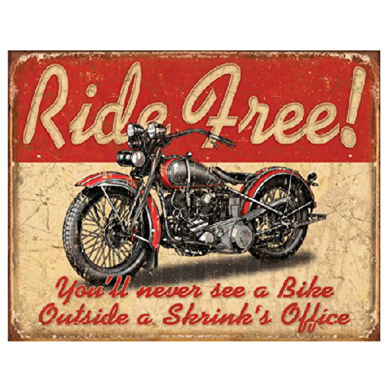 Ride Free motorcycle retro 20x30cm metal signs