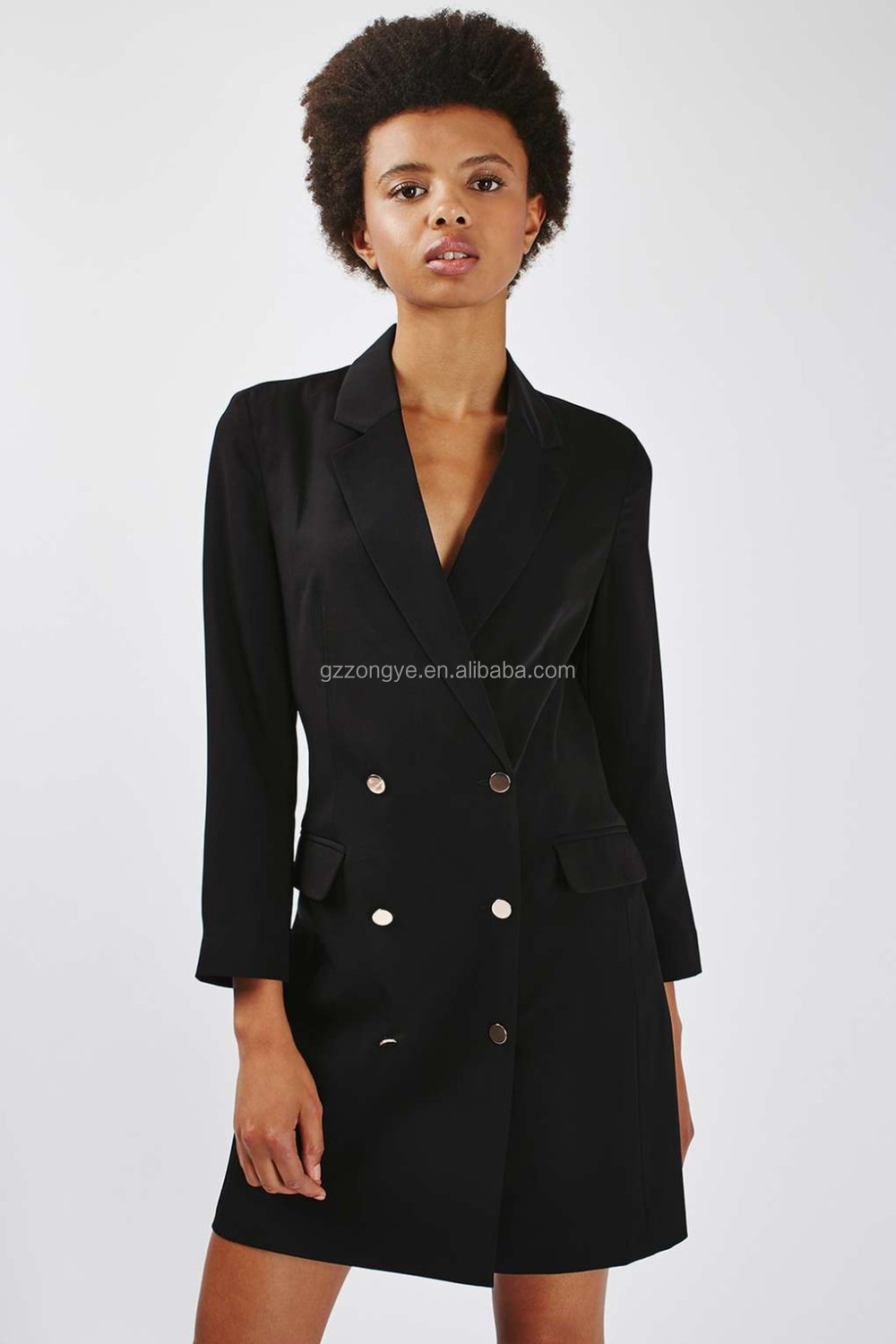 '80s Double Breasted and button women Blazer Dress
