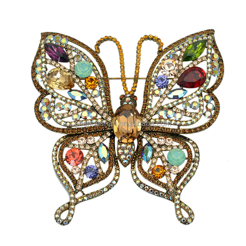 US Large Size Brooch Antique Metal Multi Color Crystal Rhinestone Butterfly Brooch