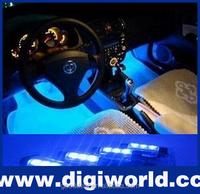 4 pcs blue foot interior car decorative led lighting for car