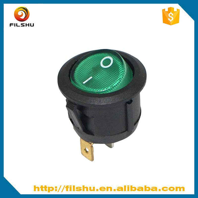 6A 250V/10A 125V AC CE certificated green color round rocker switch