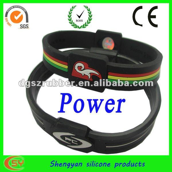 White and black printed bracelet ion power sport balance