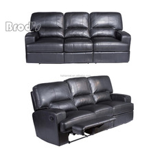 hot sale black Pu match bonded leather motion sofa Recliner motion sofa 3 seater leather living room furniture