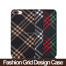 Fashion grid fabic cloth design phone case for iphone 7 plus 7plus hard pc back cover case for iphone 6