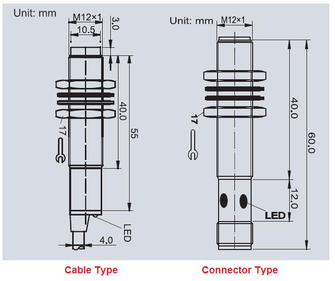 m12 connector metal detector inductive proximity sensor