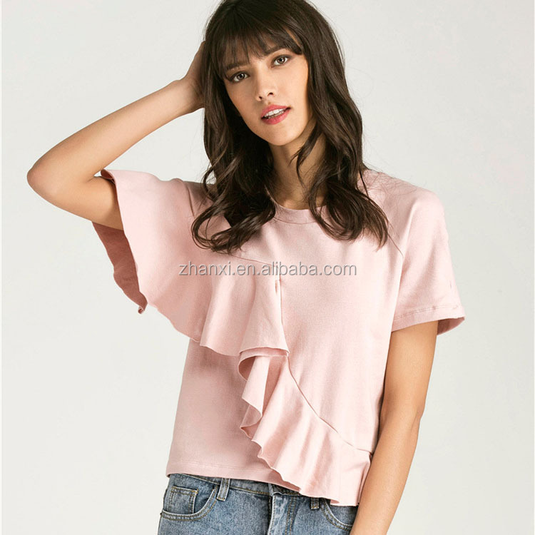 Hot sale fashion short sleeve lotus leaf lady pink t-shirt 100% cotton