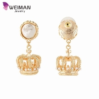 Women's Fashion Crystal Royal Simulated Pearl Dangle Pierced Tiara Crown Earrings