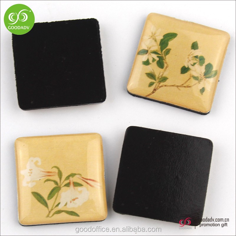 Guangzhou wholesale souvenir gift square shape epoxy fridge magnet