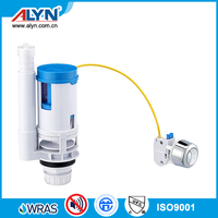 Adjustable WRAS wire-control dual toilet flush valve ABS water tank fitting
