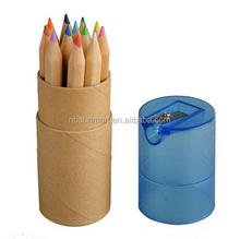 high quality 12 colors colored natural wood drawing pencil with sharpner bottle carton package