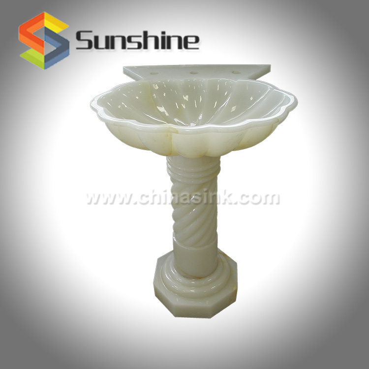Pure White Onyx Stone Bathroom Basins for Villa Projects