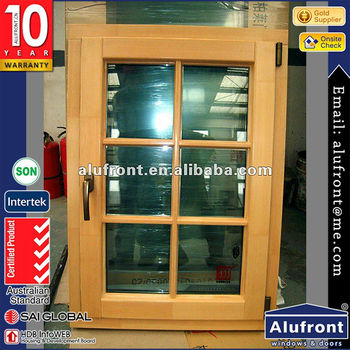 aluminum clad wood swing window with thermal break profile
