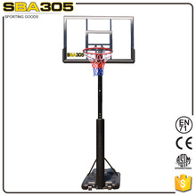 basketball pole and glass backboard with padding