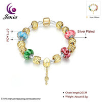 Jenia Fashion Glass Gold Beaded Handmade Chain Bracelet With Gold Clasp