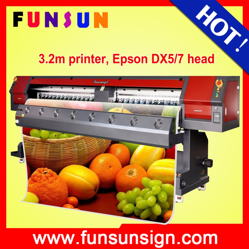 Heavy duty Funsunjet FS3202M 3.2m / 10ft printing machine car wrap for flex banner and SAV vinyl sticker printing 1440dpi cheap
