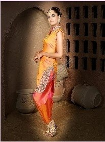 Pakistani Women Suits (Orange - Pink Katan Silk Suit)