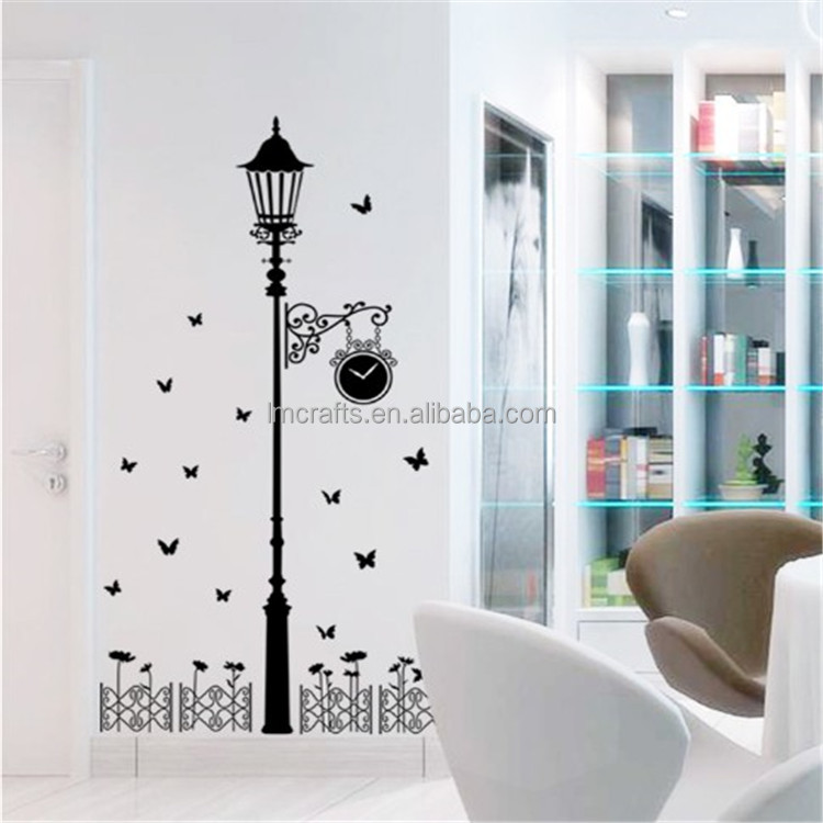 Black Butterfly Lighthouse background Vinyl DIY Removable Wall Stickers Window Parlor Living Room Home Decor AY9200