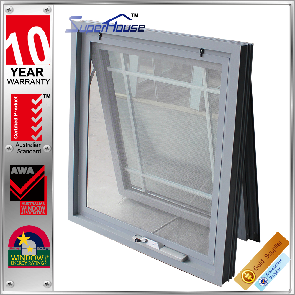 Australia AS2047 standard commercial double glass aluminum awning window and doors