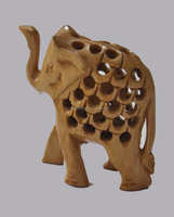 Handicraft Traditional Handmade Decorative Hand Carved Wooden Elephant