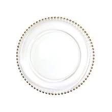PZ26400 wedding rental decoration gold bead glass charger plates wholesale
