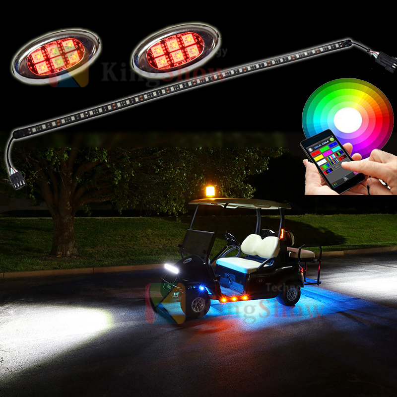 8pc Multi-Color Super bright ultrathin Waterproof Golf car Pod Light APP Control LED Lighting Strips Kit