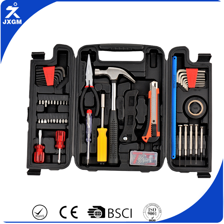 52pcs hand tool set hex key bits ratchet handle in 3 foldable plastic case carbon steel household tool sets