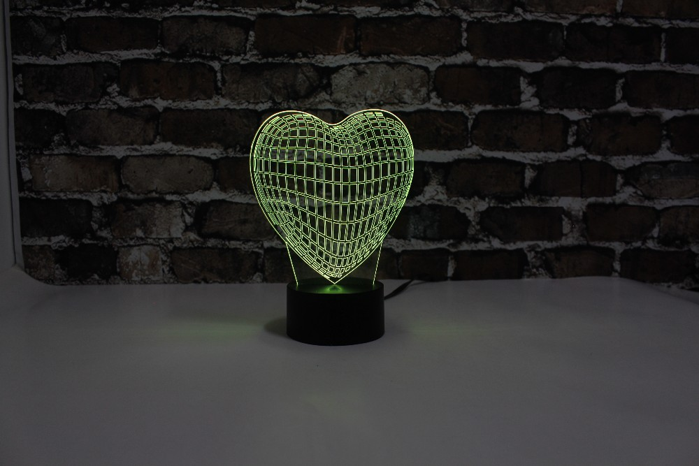 Free Shipping, YJM-2910,Valentine Gift Heart ,3D LED Decorated Colorful Nightlights, Table or Bed Lamp with Touch Control