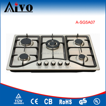Built in Gas Hob 5 burner gas hob stainless steel panel