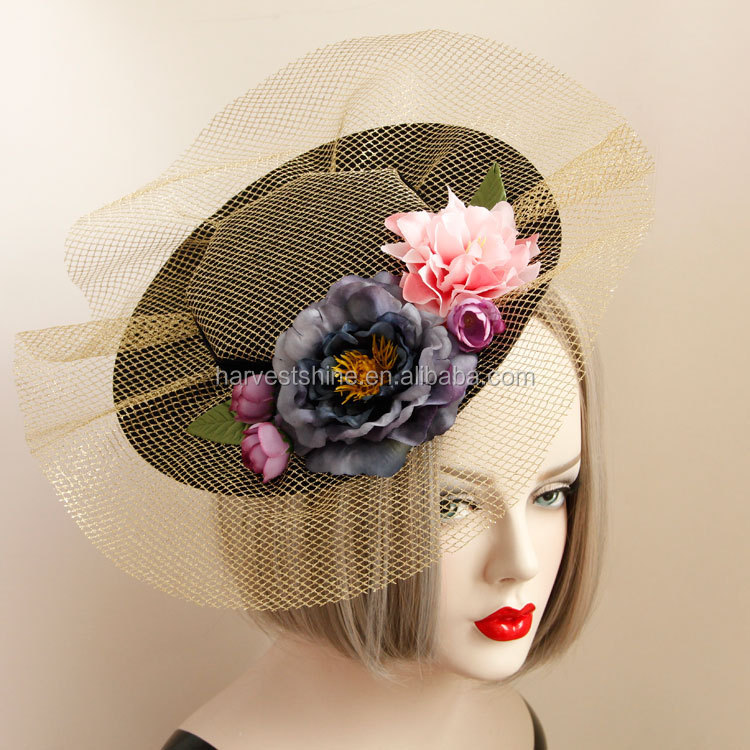 Great Britain Banquet Flower Felt Hat with Clips